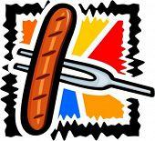 Grilled sausage on a fork. Vector illustration.