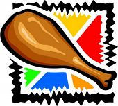 Round of fried chicken. Vector illustration.