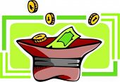 Hat with money.Vector illustration