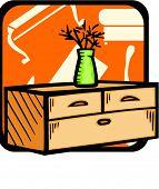 Bureau with flowerpot.Pantone colors.Vector illustration