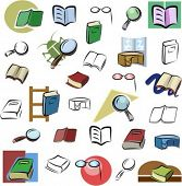 A set of vector icons of books and reading devices in color, and black and white renderings.