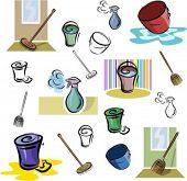 Un conjunto de iconos de vector de lavado y limpieza de herramientas en color y blancos y negro renders.