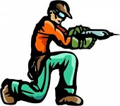 A ready-to-cut vector illustration of a worker, holding a drill.