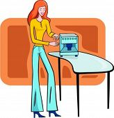 A vector illustration of a shopping girl looking at a coffee machine.