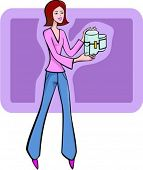 A vector illustration of a red-haired selling girl holding a food processor.