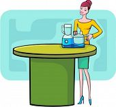 A vector illustration of a red-haired shopping girl looking at a food processor.
