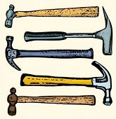 A set of 5 vector icons of hammers.