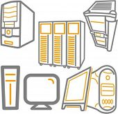 A set of 5 vector icons of computers, monitors, and servers.