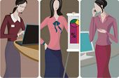 A set of 3 businesswomen vector illustrations. 1) A businesswoman working on a computer.  2) A businesswoman making a business presentation. 3) A businesswoman speaking on a mobile phone.