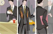 Een set van 3 zakenlieden vectorillustraties. 1) Een zakenman die op een laptop werkt en het eten van een hambur