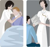 A set of 2 medical illustrations. 1) Nurse helping a patient with broken neck. 2) Doctor discussing results with a patient.