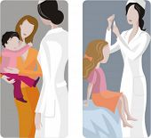 A set of 2 medical illustrations. 1) Baby consultation. 2) Pediatric giving an injection to a young girl.
