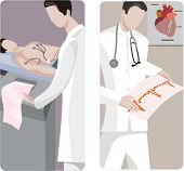A set of 2 medical illustrations. 1) Cardiologist making a cardiogram. 2) Cardiologist studing a car