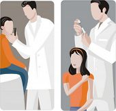 A set of 2 vector illustrations of general practitioners, giving an injection and examining the ears of two young patients.