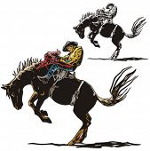 stock photo of bareback  - Illustration of a rodeo cowboy riding a saddled horse - JPG