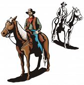 Illustration of a cowboy riding a horse.