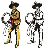 Illustration of a latino cowboy holding a lasso.