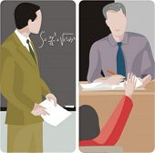 Teacher illustrations series.  1) Math teacher looking at the mathematical problem on the blackboard