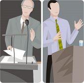 Teacher illustrations series.  1) Professor teaching a class. 2) Professor teaching a class.