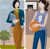 Teacher illustrations series.  1) Student walking in a schoolyard. 2) Sport teacher teaching a basketball lessons.