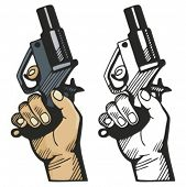 Pistol signaling the race start. Vector illustration