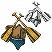 Boat with two paddles. Vector illustration