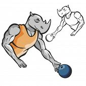 Rhinoceros Bowling Mascot. Great for t-shirt designs, school mascot logo and any other design work.