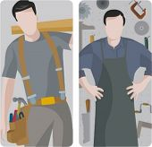 A set of 2 vector illustrations of carpenters. 1) Carpenter holding a wooden plank. 2) Carpenter in