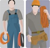 A set of 2 vector illustrations of workers holding cables.