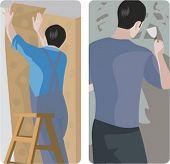 Un conjunto de 2 ilustraciones vectoriales de los trabajadores. 1) Trabajador pegar papel pintado. 2) Trabajador hacer un yeso.
