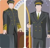 A set of 2 vector illustrations of hotel bellmen.