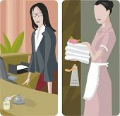 A set of 2 vector illustrations of hotel workers.