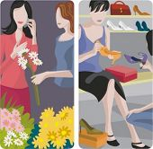 A set of 2 vector worker illustrations. 1) Flowers shop. 2) Shoes shop.