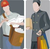 A set of 2 vector illustrations of courier services.
