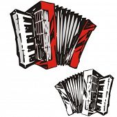 Music Instrument Series. Vector illustration of an accordeon.
