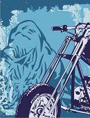 Постер, плакат: Мотоцикл гранж фон серии