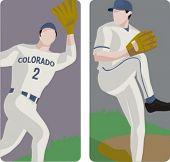 Sport illustrations series. A set of 2 baseball pitchers.