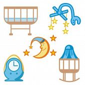 Baby icons series. Baby beds and accessories. Check my portfolio for much more of this series as wel