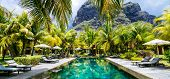 Luxury tropical vacation.Spa swimming pool, Mauritius island poster
