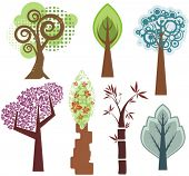 Vector tree designs in various styles. Check my portfolio for more of this series as well as thousan