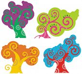 Vector colorful tree designs in a spiraltype style. Check my portfolio for more of this series as we