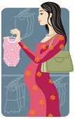Shopping vector illustration series. Shopping pregnant girl. Check my portfolio for much more of thi