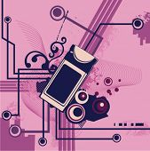 Computer related abstract background series. Vector illustration with a PCMCIA laptop card, circuit and grunge details.