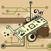 Equipo relacionados con la serie de antecedentes. Ilustración vectorial con un módem PCI y circuito y g