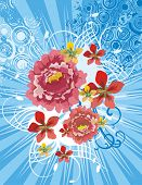 floral Background with Lichtstrahlen und Grunge-Details, Vector Illustration Serie.