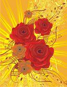 Blumen Hintergrund mit roten Rosen, Lightrays und Grunge, Vektor-Illustration-Serie.