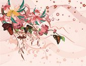 Floral background with butterflies, vector illustration series.