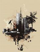 Fondo de paisaje urbano con elementos del grunge, ilustración vectorial.