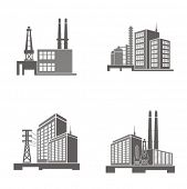 Vector illustrations of industrial buildings.
