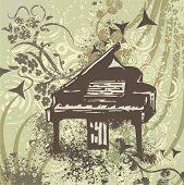 Grunge music instrument background with a piano.